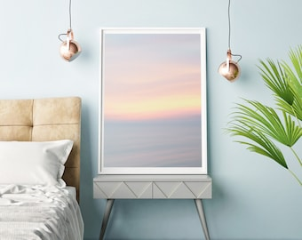 Abstract lake sunset photography print. Summer beach art. Unframed large landscape picture. New home art for woman. Relaxing bedroom art.