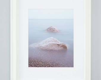 Calming beach art. Muted colour coastal landscape photography. Oversize vertical lake photo. Spa picture for decor. Summer relaxation gift.