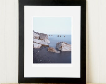 8x10 beach rock print. Limited edition fine art landscape photography. Calming coastal art for hallway. Nautical gift for outdoor lover.