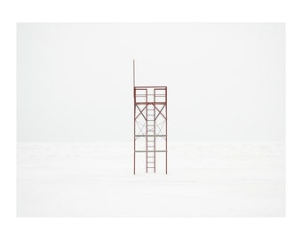 Lifeguard station photograph. Red minimal art. Extra large winter beach picture. Wall art for office. Housewarming gift for architect.