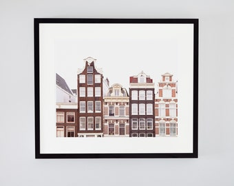 Amsterdam canal houses photo. City skyline with quirky buildings. Charming travel photograph. Scandi decor. Extra large art for over couch.