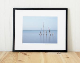 Modern coastal art. Oversized horizontal nature art print. Unframed Lake Huron photography. Calming meditation decor for relaxing bedroom.