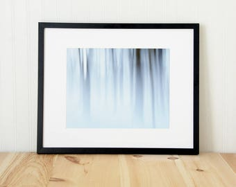 Forest abstract art photography. Large snow photograph art print. Modern fine art nature photo. Foggy winter art for office.