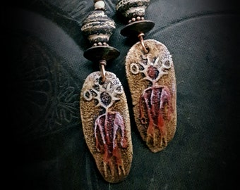Shaman, Ceramic, Glass, Rustic, Tribal, Primitive, Copper Earrings, Clay jewelry, Organic, Artisan Made, Primitive Beaded Earrings