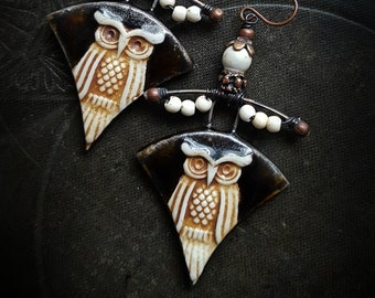 Owls, Ceramic Charms, Porcelain, Owl Jewelry, Artisan Made, Unique, Animals, Organic, Unique, Beaded Earrings