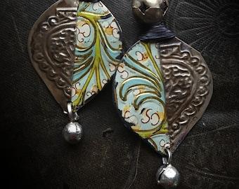 Kuchi, Banjara, Poetic, Flowers, Tin, Tin Earrings, Vintage, Unique, Organic, Primitive, Stamping, Recycled, Beaded Earrings