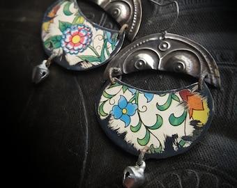 Tin Earrings, Vintage Tin, Kuchi, Banjara, Brass, Shields, Flowers, Tin Flowers, Artisan Made, Beaded Earrings