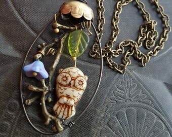 Flowers, Wire Wrapped, Hoop, Blossom Series, Owls, Garden, Artisan Made, Glass, Organic, Rustic, Unique, Beaded Necklace