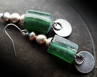 Roman Glass, Kuchi, Banjara, Stampings, Silver, Old World Beads, Discs, Rustic, Organic, Beaded Earrings