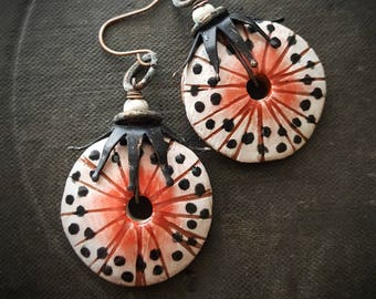 Vintage Beads, Artisan Made, Porcelain, Discs, Urchin, Brass, Clay, Organic, Rustic, Beaded Earrings