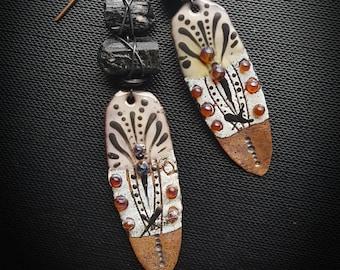 Enameled Earrings, Enameled Charms, Tribal, Aztec, Southwest, Tourmaline, Artisan Made, Earthy, Rustic, Beaded Earring