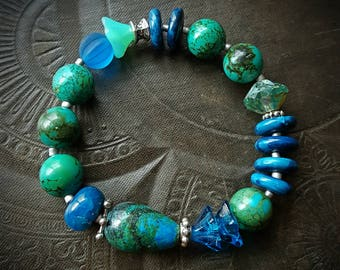 Boho, Gypsy, Agate, Flowers, Chrysocolla, Turquoise, Glass, Sea Glass, End of Day, Stretchy Bracelet, Bangle, Stack-able Bracelet