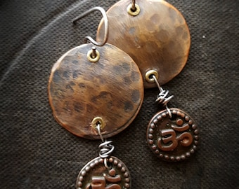 Aum, Om, Buddha, Lotus Flower, Amulet, Ancient, Zen, Artisan Made, Copper, Unique, Organic, Rustic, Primitive, Wire Wrapped, Beaded Earrings
