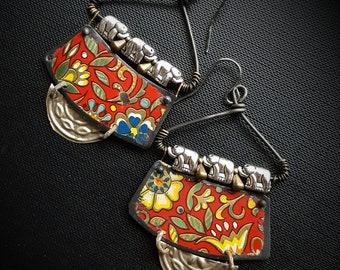 Kuchi, Banjara, Tin Earrings, Tribal, Elephants, Tin, Flowers, Vintage, Unique, Organic, Primitive, Stamping, Recycled, Beaded Earrings