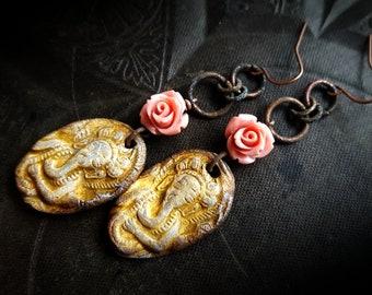 Ganesha, Elephants, Ceramic, Rustic, Spiritual, Hindu, Primitive, Flowers, Organic, Artisan Made, Beaded Earrings