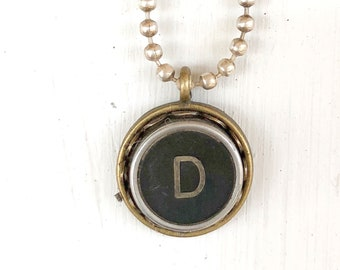 SALE: Typewriter Key Necklace, Vintage, Initial Jewelry,  Letter D, Typography Jewelry READY to SHIP