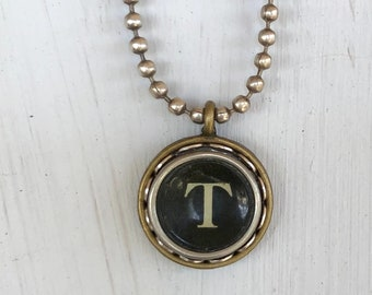 SALE: Typewriter Key Necklace, Vintage, Initial Jewelry,  Letter T, Typography Jewelry READY to SHIP