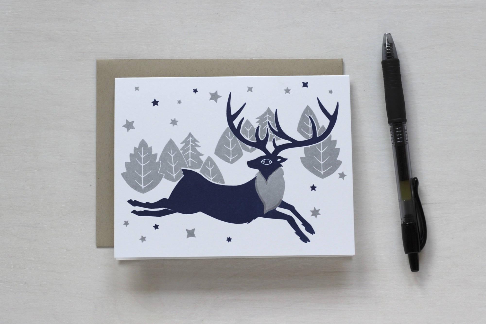 Letterpress Christmas Card Blank Card Stag Deer Forest Etsy