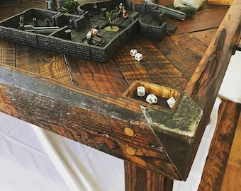 Dining and Custom Gaming Table made from Reclaimed Barnwood and Steel