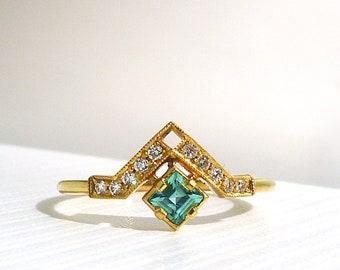 Artio Ring with Green Tourmaline