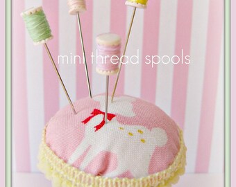 Assorted Candy Colored MIni Thread Spool Pin Topper