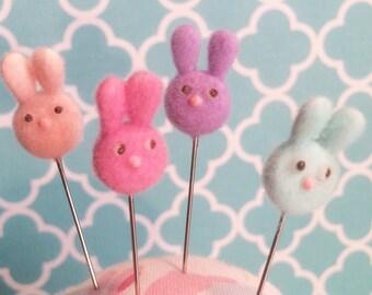 Fuzzy Flocked Springtime  unny Rabbit Pin Topper