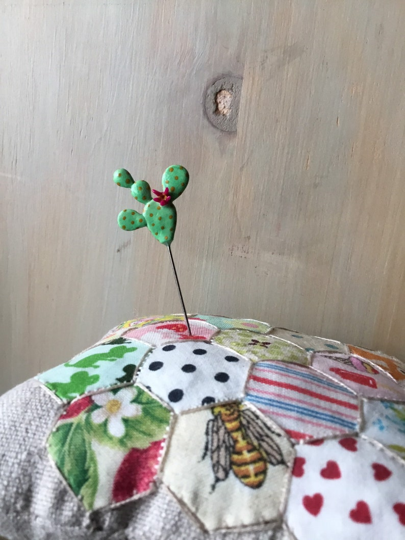 Prickly Pear Cactus Pin Topper Sewing Pin Notion Southwest Love