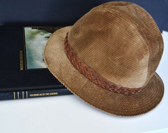 54957cbe9caf2 Vintage Mens Fedora corduroy hat