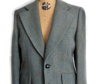 3827d600 Vintage Harris Tweed Blazer Men's Jacket Herringbone Sports Coat