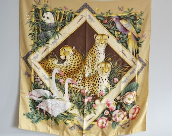 Vintage Salvatore Ferragamo silk Scarf animal print large scarf 32ecc0ed24b78