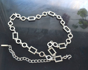 15b9b3cfe3a Vintage Silver Chain Link Belt silver Tone Metal belly chain Belt Adjustable