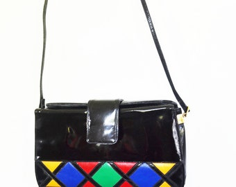 f71881977ad Vintage Patent leather Bag multicolor shoulder bag