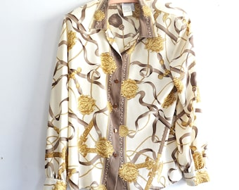 b9c2f846 80s Baroque Print Blouse /Scarf Print Long Sleeve Shirt