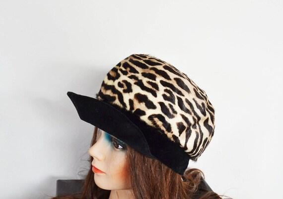 vintage  faux leopard hat real fur cap newsboy
