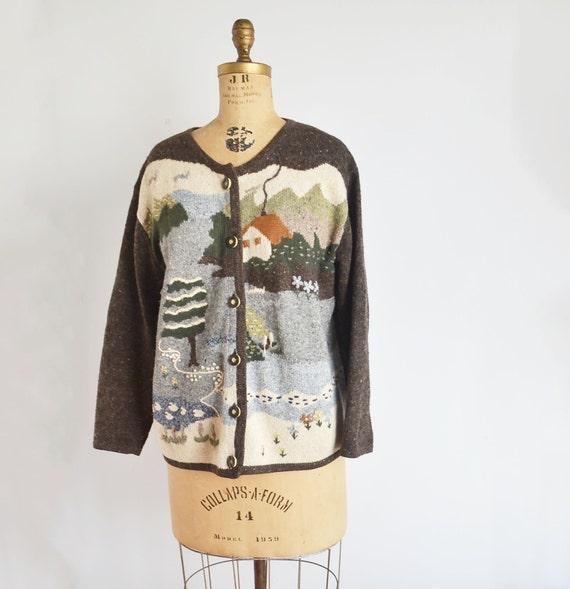 80s novelty Scenic Cardigan -landscape sweater- f… - image 1