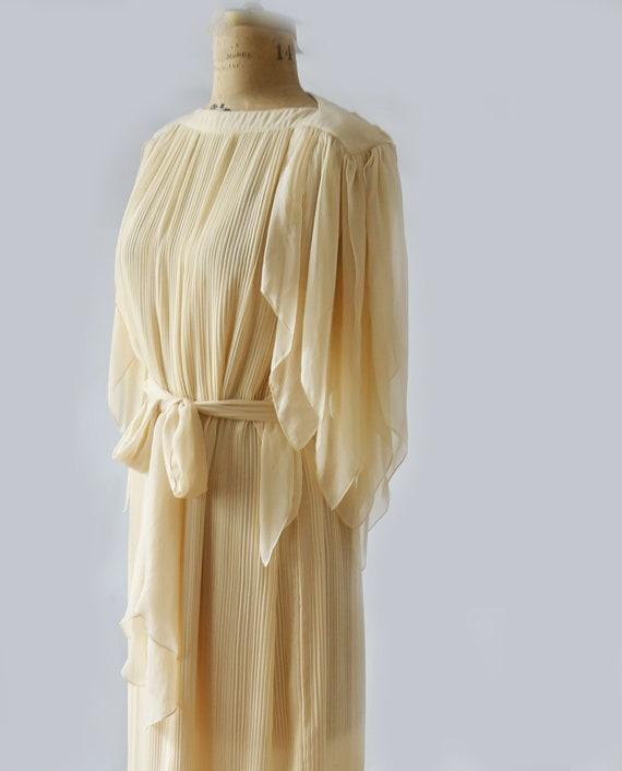 Vintage 80s Pleated chiffon dress