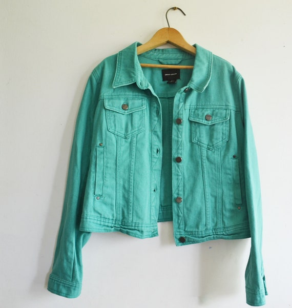 80s DKNY Jeans Denim Jacket Green soze Large