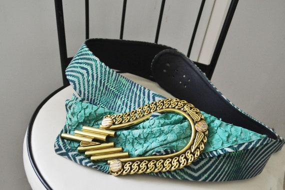 vintage 80s Green leather wide belt