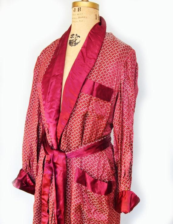 vintage Men's Smoking Jacket red dressing gown