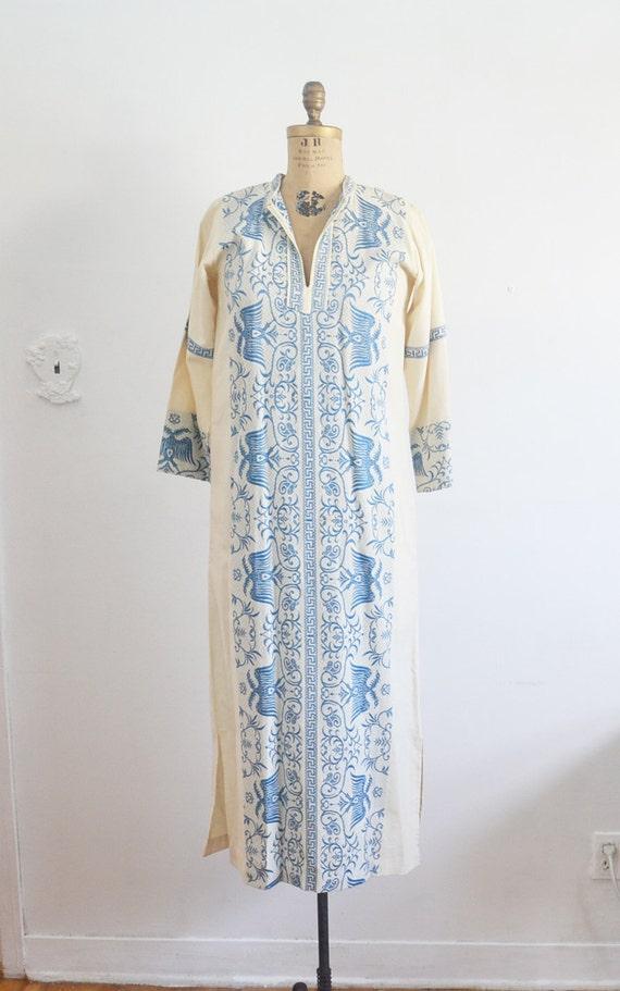 maxi Dress garcian white blue embroidery kaftan Vintage embroidered caftan dress qxSq7Rw