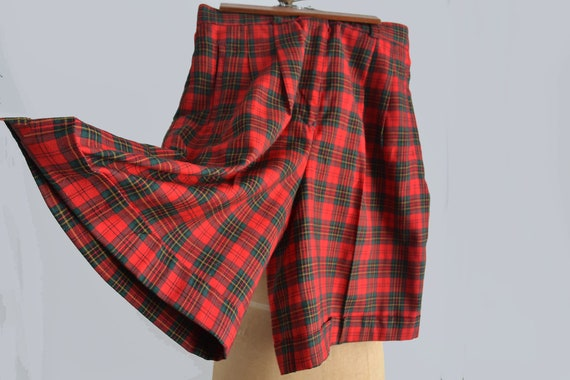 Vintage Red Tartan Plaid Shorts | Wool Shorts | Hi