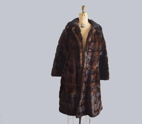 Vintage  Brown Mink coat, mahogany fur coat , retr