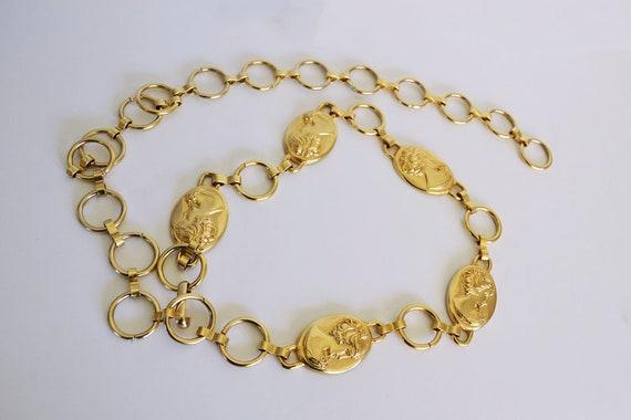 Vintage Goldtone chain  belt heavy goldtone coins
