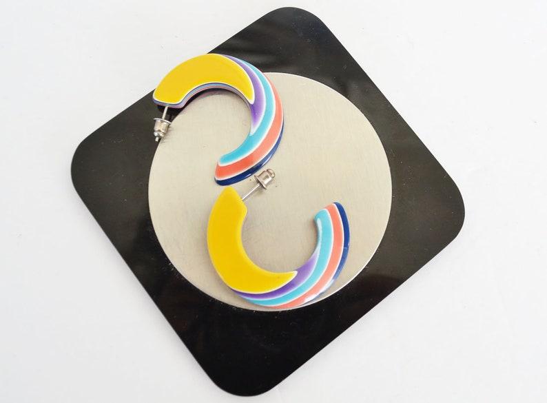 Lea Stein Plastic Earrings pierced mulitcolor