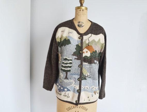 80s novelty Scenic Cardigan -landscape sweater- f… - image 5