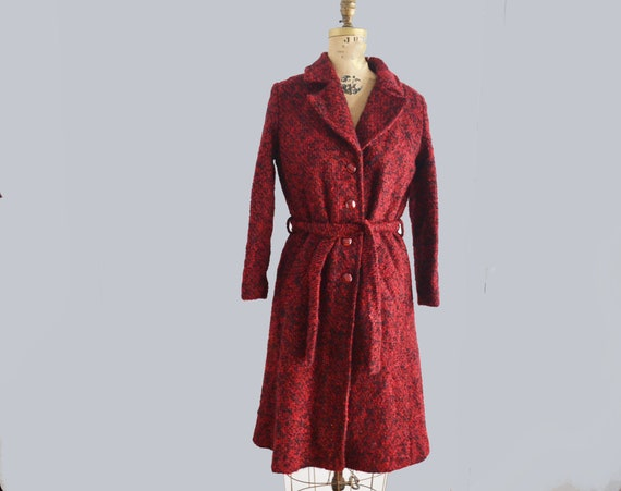 Vintage boucle wool coat red and black