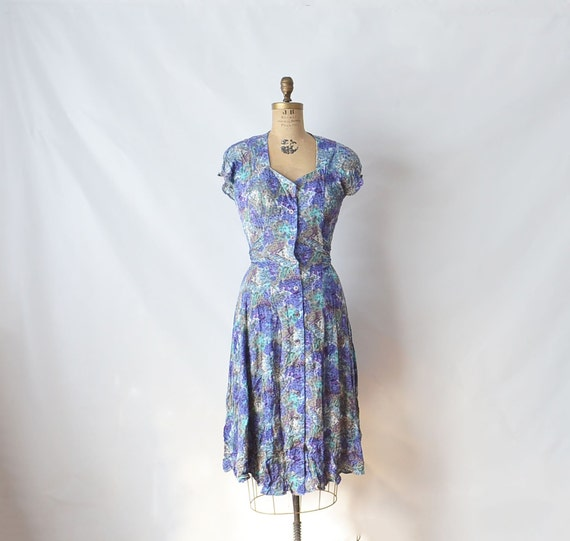 80s  Carole Little Blue Abstract floral  Dress