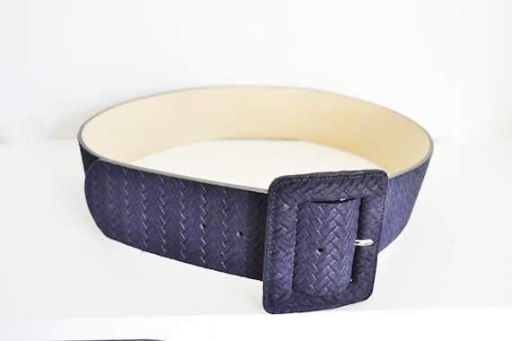 Punto Fibbia leather belt Made in Italy Wide blue