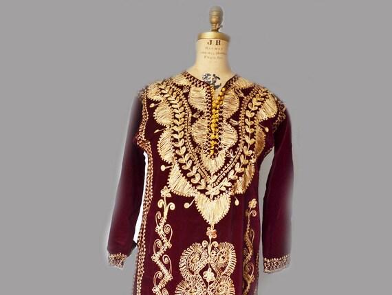 vintage kaftan dress, velvet embroidered caftan,Ka