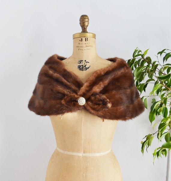 Vintage mink fur stole wrap capelet